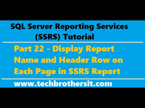 SSRS Tutorial 22 - Display Report Name and Header Row on Each Page in SSRS Report