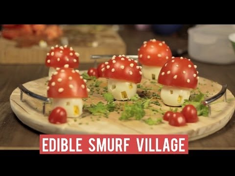 How to make... An edible Smurfs Village! (with eggs and tomatoes) #FunFood