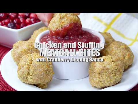 Chicken and Stuffing Meatball Bites with Cranberry Dijon Dipping Sauce