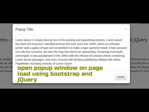 How to open popup window on page load using bootstrap and jQuery