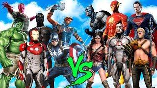 JUSTICE LEAGUE vs AVENGERS (FLASH,SUPERMAN,CYBORG vs IRON MAN,HULK,THOR,VISION) - EPIC BATTLE