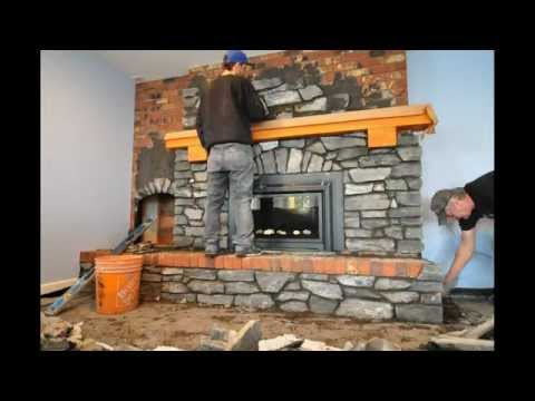 Fireplace recovering with stone