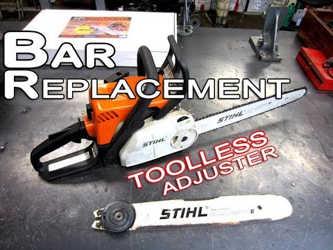 Bar Replacement On STIHL MS180 Chainsaw With Toolless Adjuster