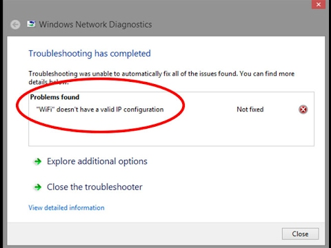 Fix WiFi doesn't have a valid IP configuration Error in windows 7/8/10