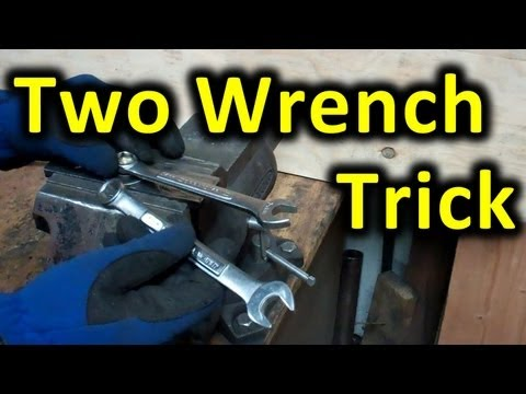 Two Wrench Leverage Trick. Using 2 wrenches to increase leverage on a tight nut or bolt.