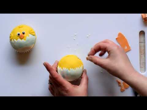 How to make Easter Chick Cupcakes using fondant.