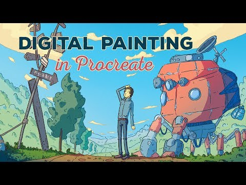 Digital Painting Process: Robot and Landscape (Procreate)