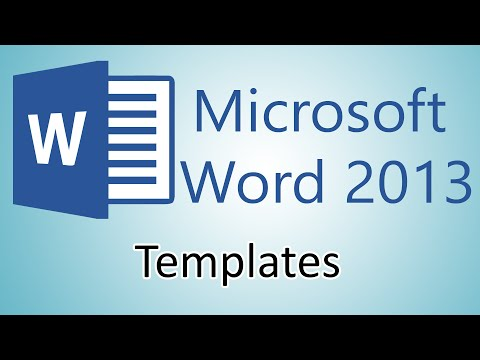 Microsoft Word 2013 Tutorials - Document Templates