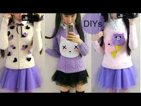 3 Sweater DIYs: Alpaca + Gothic Pastel Cat + Heart + Outfit Ideas (Milk Bag+Navy&Snowflake Sweaters)