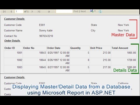 Displaying Master/Detail Data from a Database using Microsoft Report(.rdlc) in ASP.NET