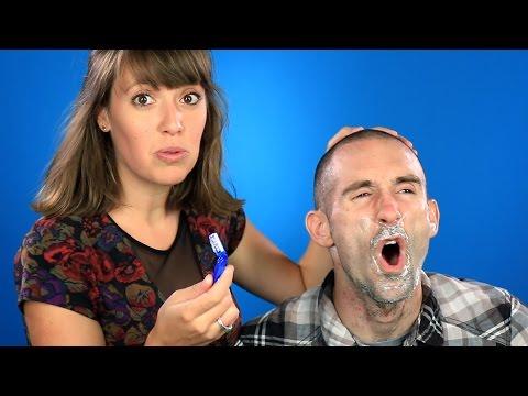 Girlfriends Shave Their Boyfriends' Faces