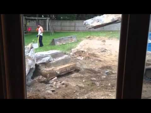 How to break up a cement stoop.
