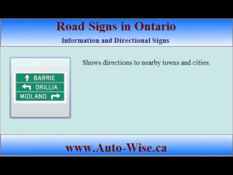 Ontario Driving Test G1 - Road Signs  - 4 ( Information and Directional  Sign )