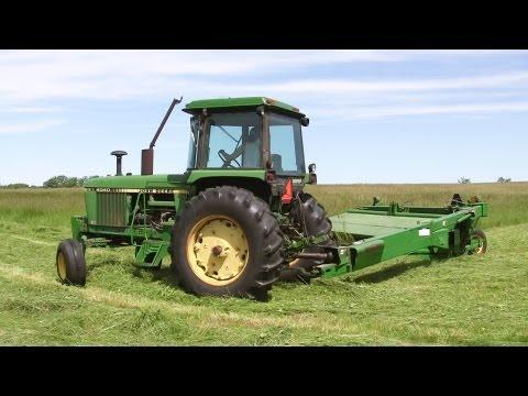 Rolling Oaks Farm - Cutting Hay, John Deere 4040 Tractor on June 17, 2013