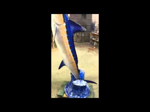 Striped Marlin Wave Mount - Gray Taxidermy Fishmounts, Custom fish reproductions
