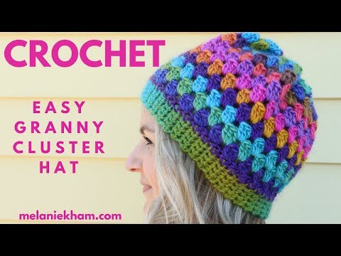 Easy Granny Cluster Crochet Beanie - Beginner Friendly