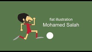 #x202b;رسم محمد صلاح ليفربول - سكتش How To Draw Flat Illustration Mohamed Salah Liverpool#x202c;lrm;