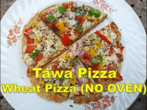 Tawa Pizza Recipe - NO OVEN PIZZA - Whole Wheat Veg Cheese Pizza Recipe