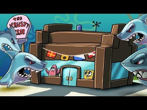 Minecraft | SHARKS INVADE BIKINI BOTTOM -  (Spongebob Secure Base Challenge)