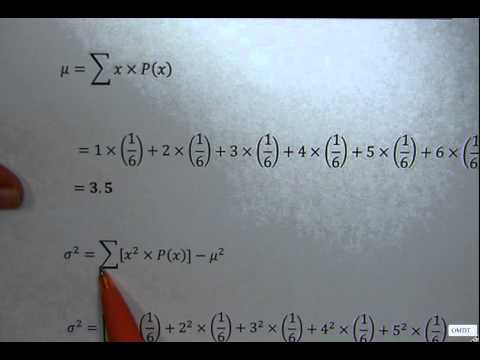Probability distribution table.Calculate mean, variance and standard deviation
