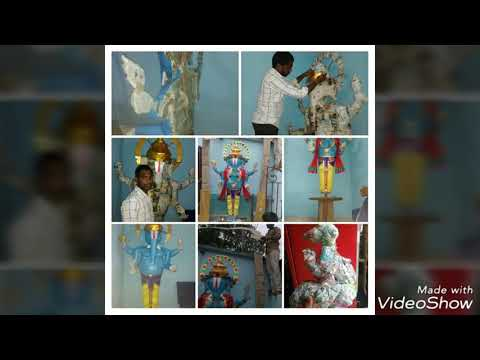 Making of Ganesh idol with cardboard and paper