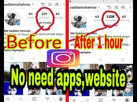 10000 followers increase 1 day on intagram.No need any website,apps.Update june  2018