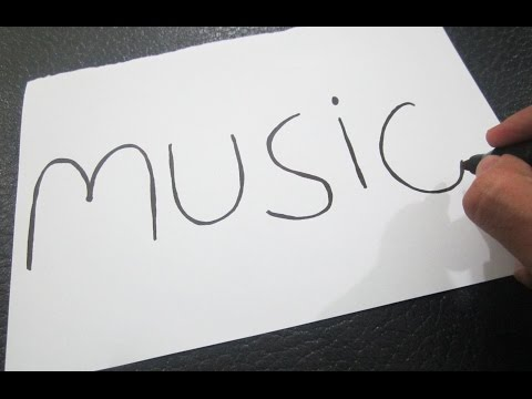 How to turn words MUSIC into a Cartoon Stick Figure! Learn drawing art on paper for kids
