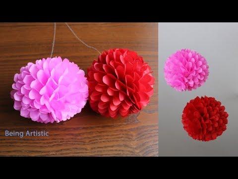 DIY - Hanging Paper  Ball  - Paper craft - Handmade