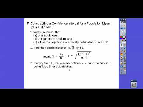 Confidence Interval for the Mean when the S.D. is Unknown - Section 6.2 (Part 1)
