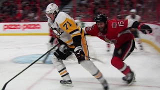 Malkin fights off Smith and slides puck past Anderson