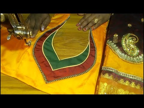 Silk saree designer blouse cutting and stitching