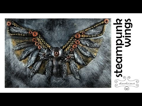 Steampunk wings journal cover - polymer clay TUTORIAL