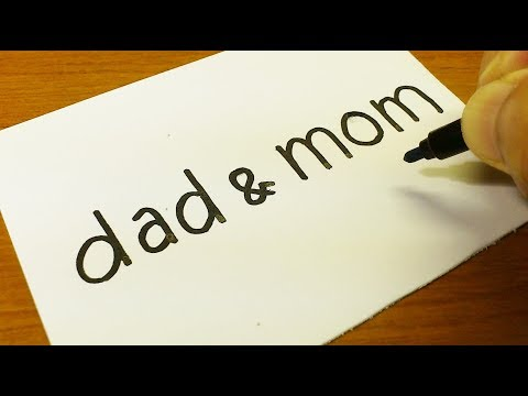 How to turn words DAD & MOM into a Cartoon for kids -  Drawing doodle art on paper