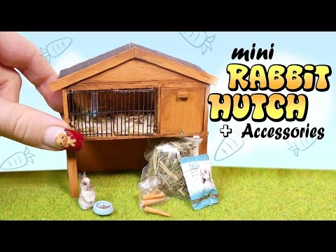 Miniature Rabbit Hutch & Accessories Tutorial // DIY Bunny Cage