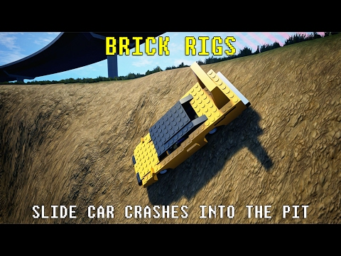 Slide Car Crashes Into The Pit   Brick Rigs