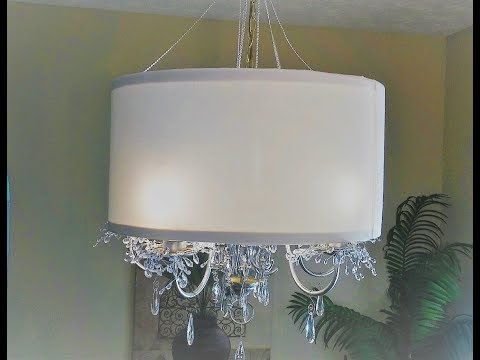 DIY Drum Lampshade  and Chandelier Makeover!