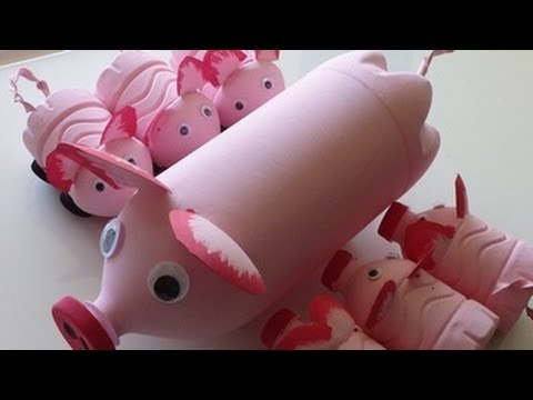 DIY Recycled Art and Crafts Ideas for Kids: How to Make Pig's Family from Plastic Bottles