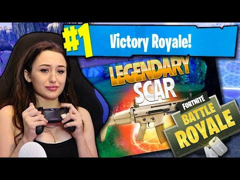 GIRL PLAYS FORTNITE FOR THE FIRST TIME! LEGENDARY SCAR?! #1 VICTORY?