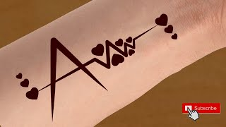 2c67a8679 A name Tattoo mehndi design || Alphabet A Tattoo Design || A Letter Love