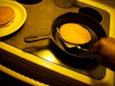 Making Pancakes in cast iron Pan