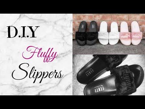 D.I.Y Furry Slippers/Slides l Rihanna Inspired Fenty Slides