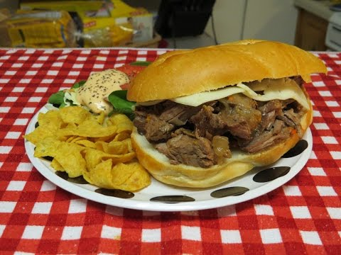 Crock-Pot Slow Cooker Recipe~Steak Sandwich made with Top Round Steak or London Broil