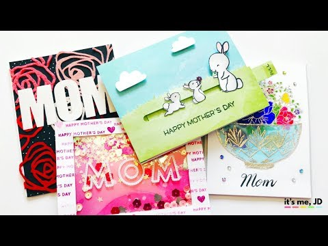 4 EASY IDEAS FOR HANDMADE MOTHER'S DAY CARDS | Tutorial on DIY Cards for Mom