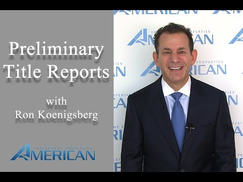 Preliminary Title Report - American Investment Properties
