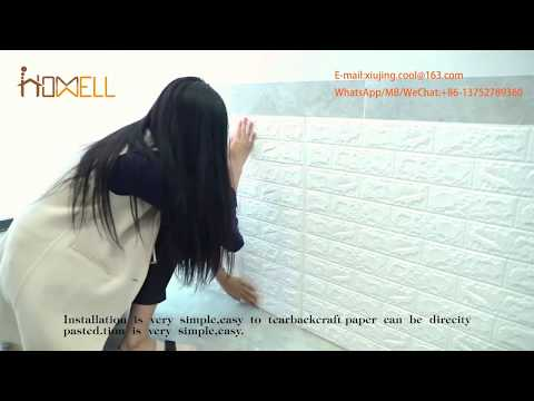 3d pe foam wallpaper sticker install process,hot sale on Amazon,decorative your house!