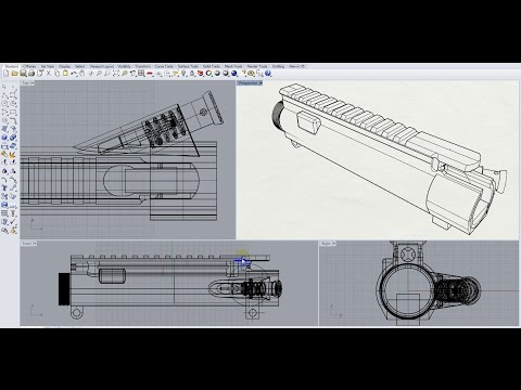AR-15 UPPER Receiver. 3D Modeling in RHINO 5. Part 6