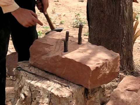 Stone-splitting at Pipe Spring National Monument