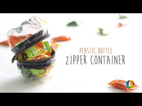 DIY : Plastic Bottle Zipper Container