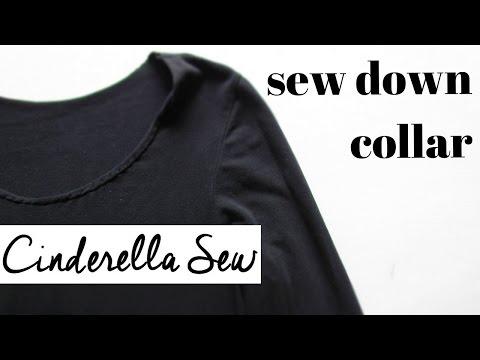 Sew down tshirt collar - Make shirt collar scoop neck - Easy hand sewing collar tutorial