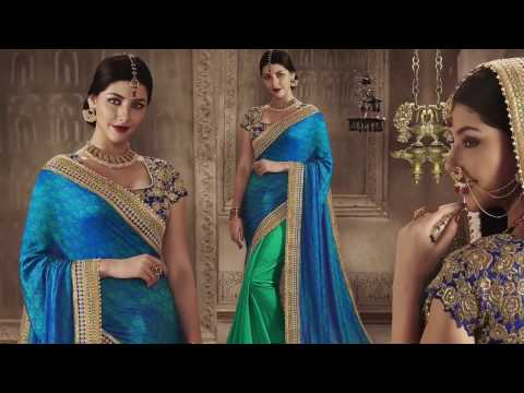 Party Wear Sarees Designs: Modern & Fancy Indian Sarees Latest Half N Half Patterns DESIGNERS ANDYOU